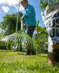 Nurmikon kattaminen virkistää nurmikkoa ja vähentää mm. sammalta.