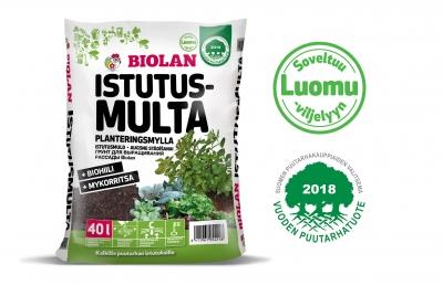 Biolan Istutusmulta on Vuoden puutarhatuote 2018